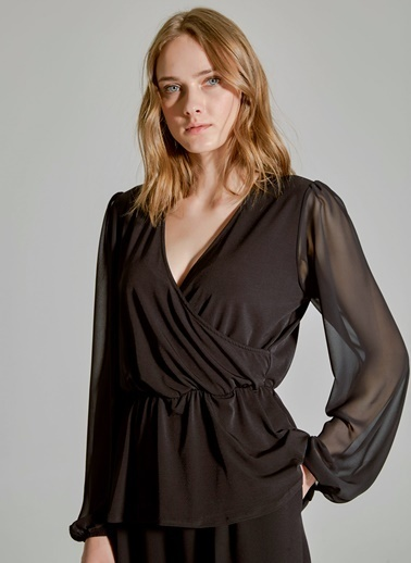 People By Fabrika Tül Detaylı Kruvaze Bluz Siyah